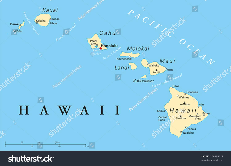 Stock Vektor Havajske Ostrovy Politicka Mapa S Hlavnim Bez
