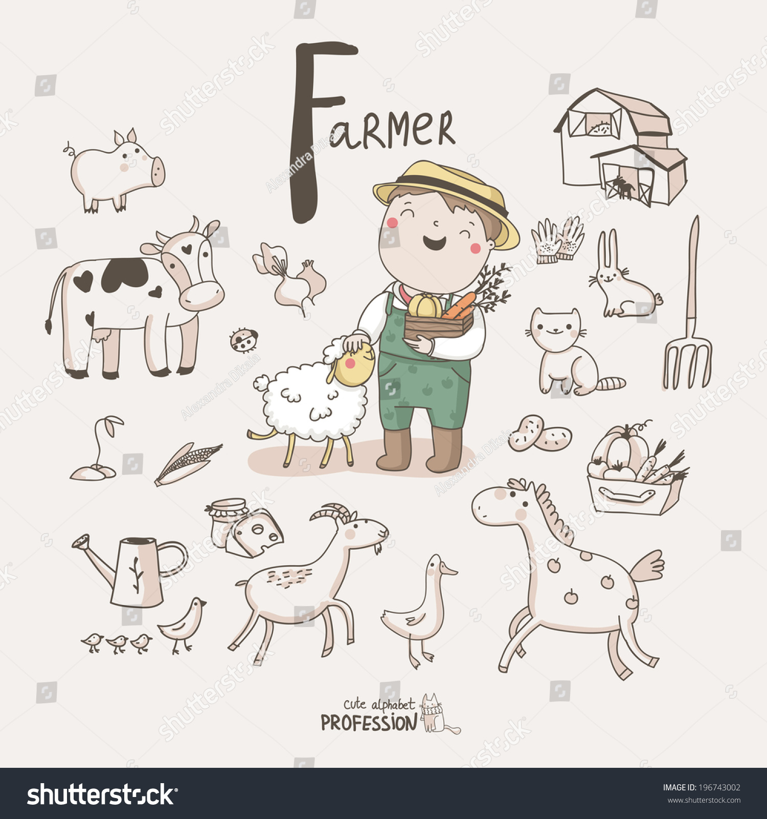 Cute Vector Alphabet Profession Letter F Stock Vector Royalty Free