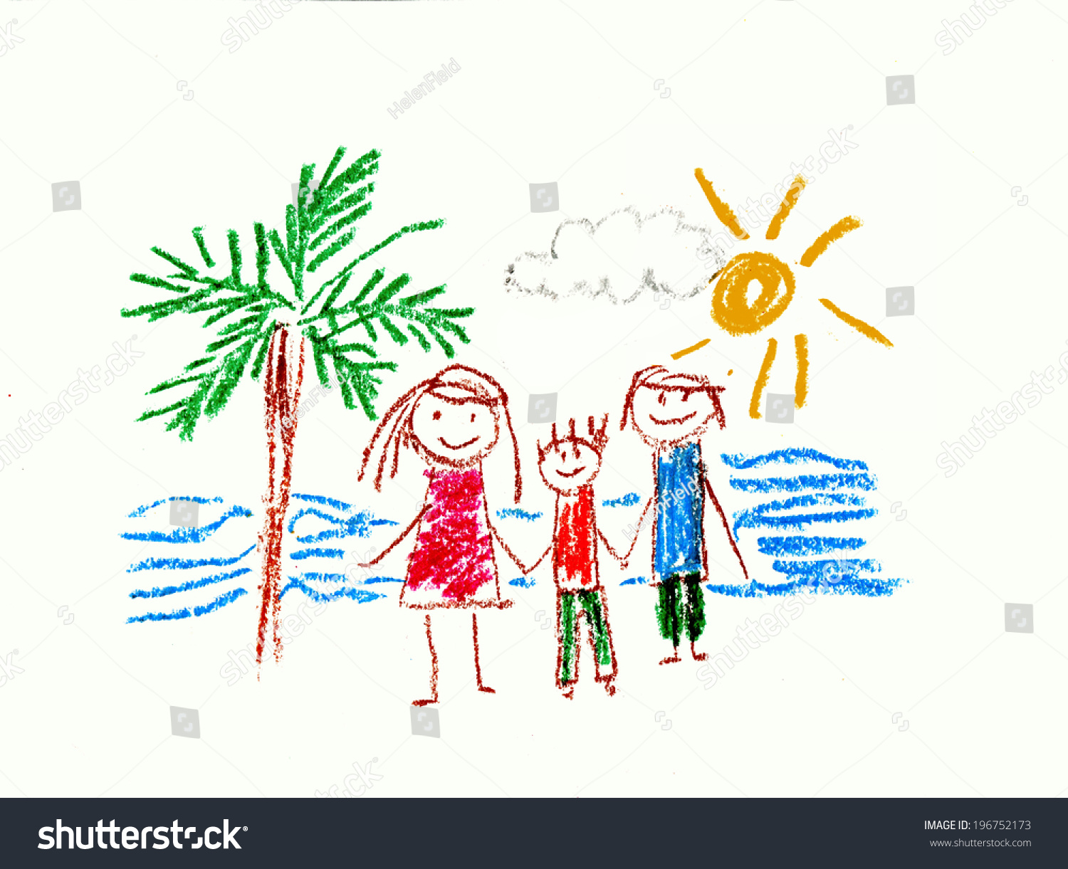 Family Holiday Kids Drawing Stock Illustration 196752173 - Shutterstock