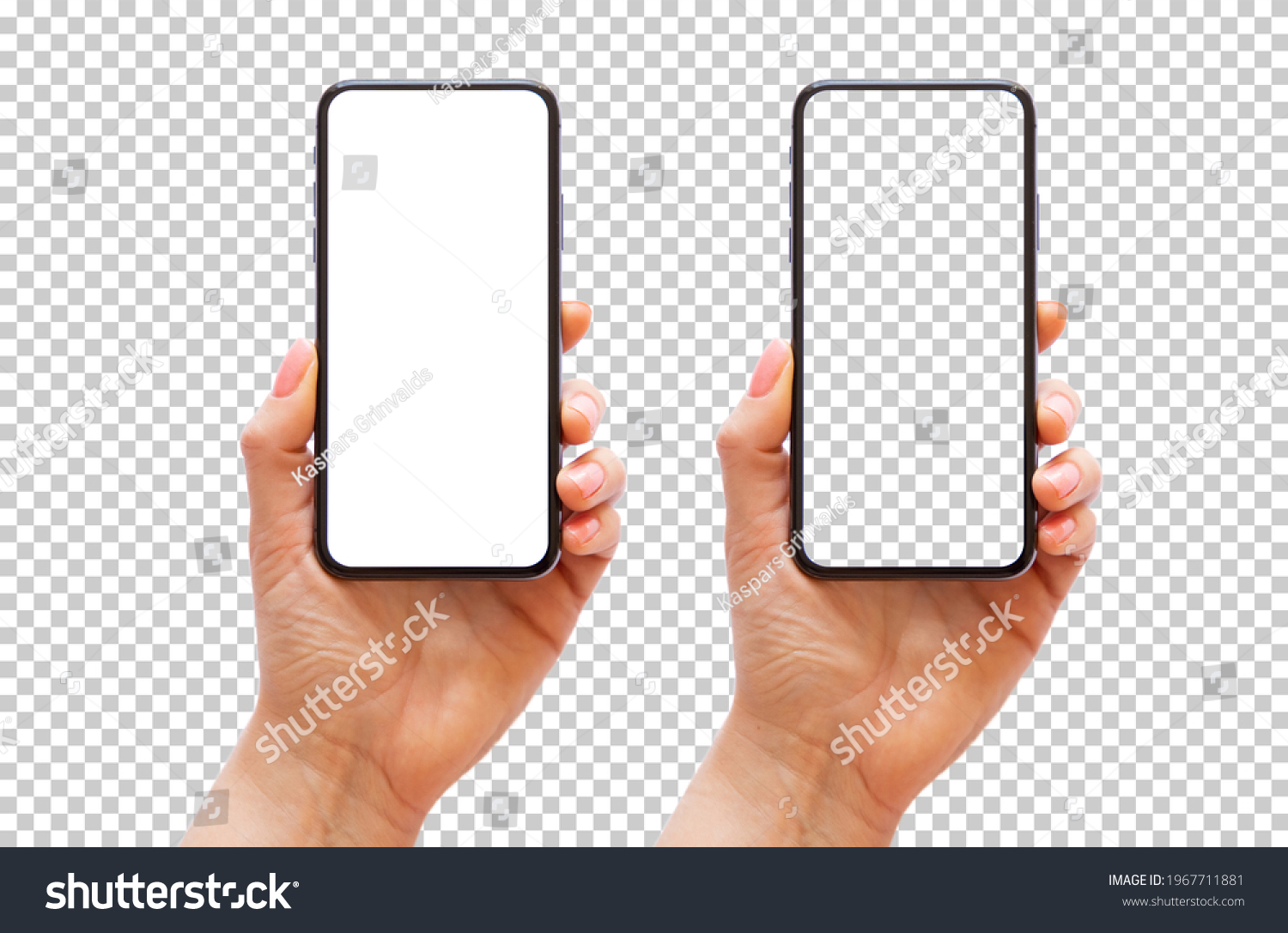 Mobile phone in hand, transparent background pattern #1967711881