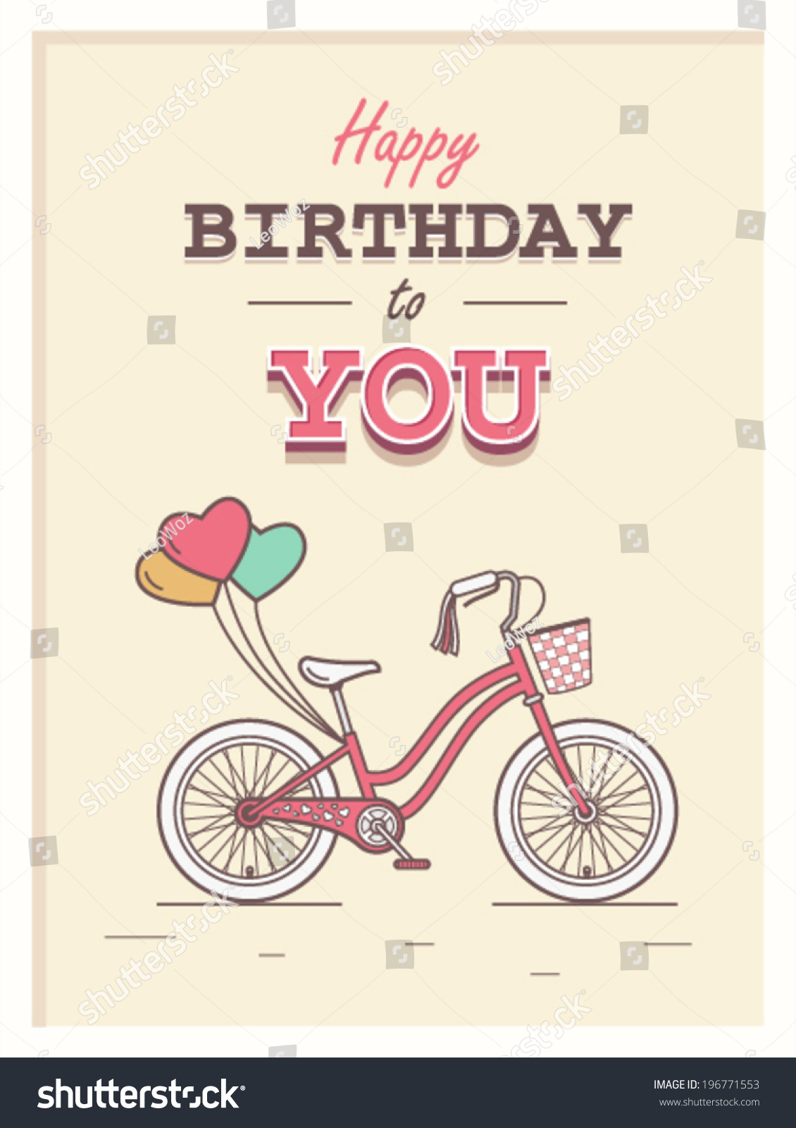 Retro happy birthday vector happy birthday vintage card with - Happy Birthday To You Hipster Postcard With Child Bicycle