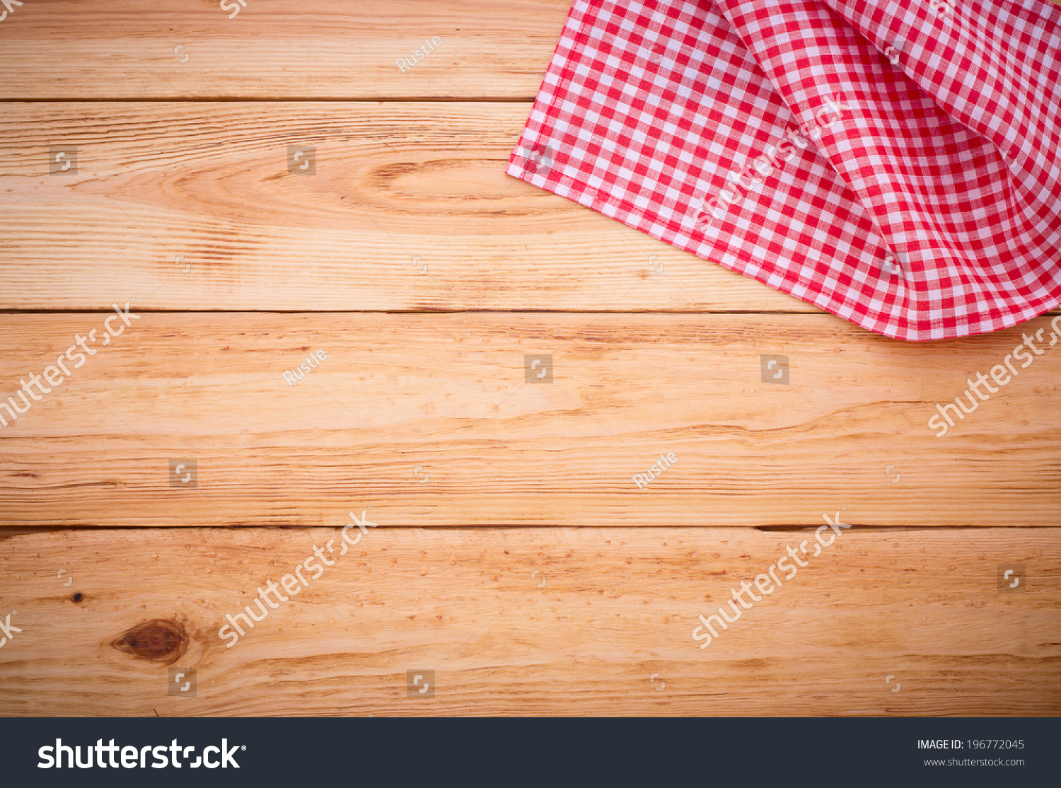 Wood Texture Background. Wooden Table Covered With Tablecloth Cloth  Checkered Plaid Red. View From