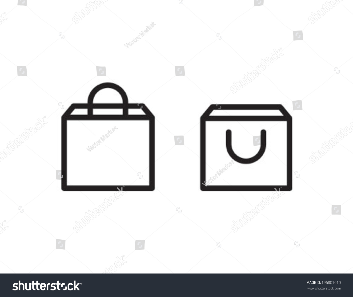 Shopping Bag Outline Icon Symbol Stock Vector 196801010 - Shutterstock