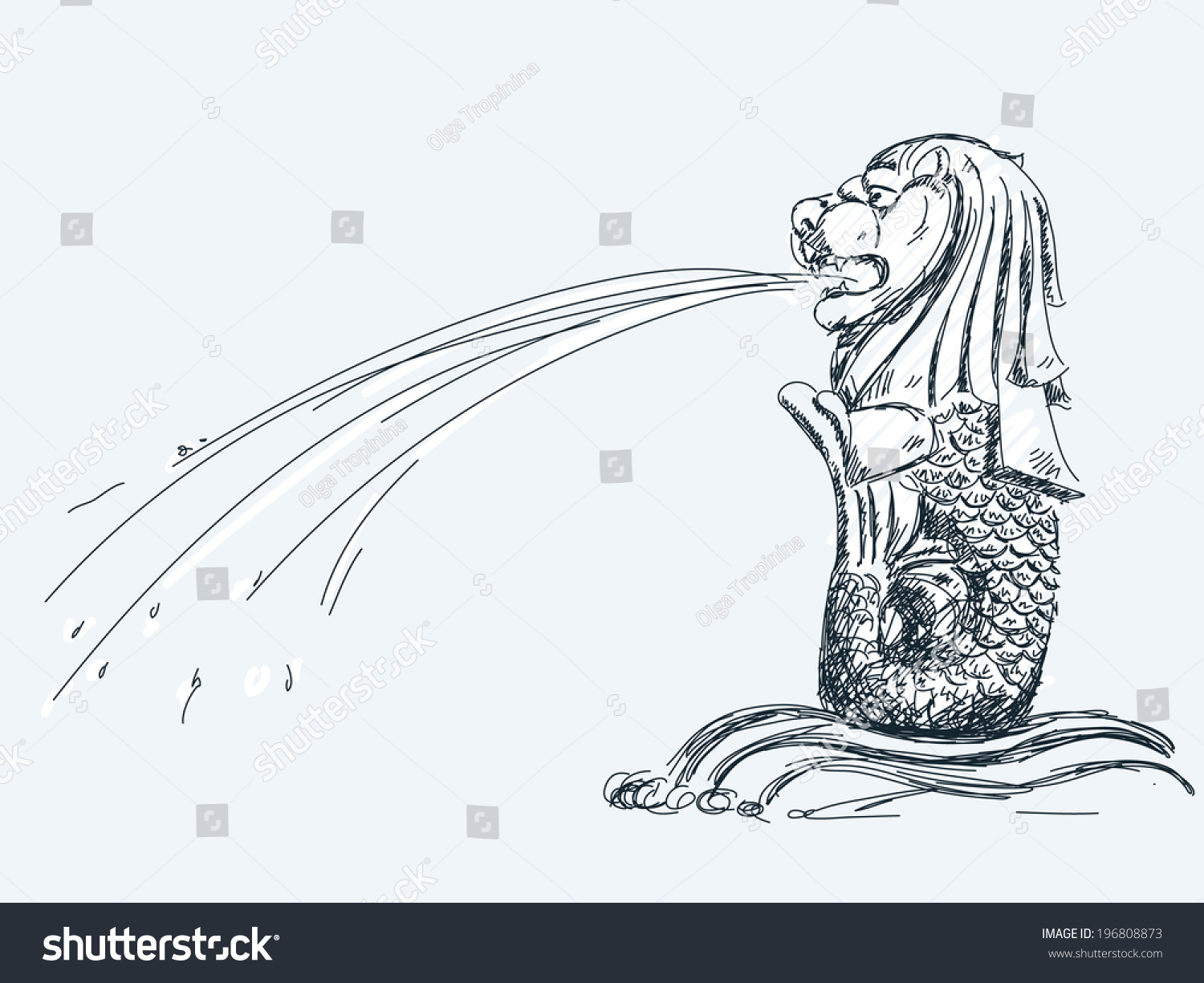 June 05 2014 Merlion Fountain In Singapore Hand Drawn Sketch