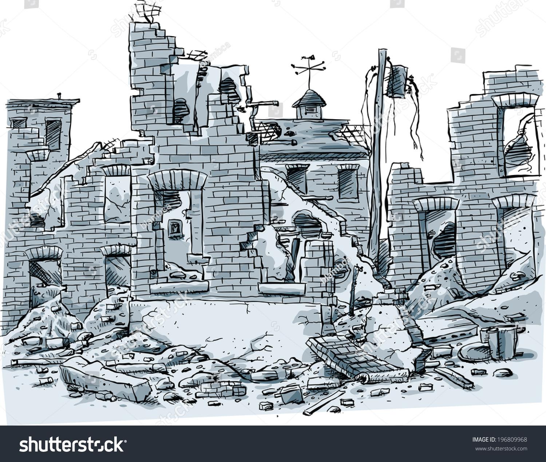 Building Demolition Cartoon : Cartoon scene ruined buildings stock vector