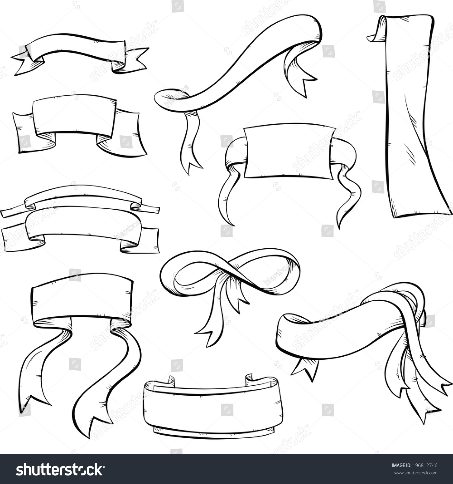 Line Art Ribbon : Set cartoon line art ribbons banners stock vector