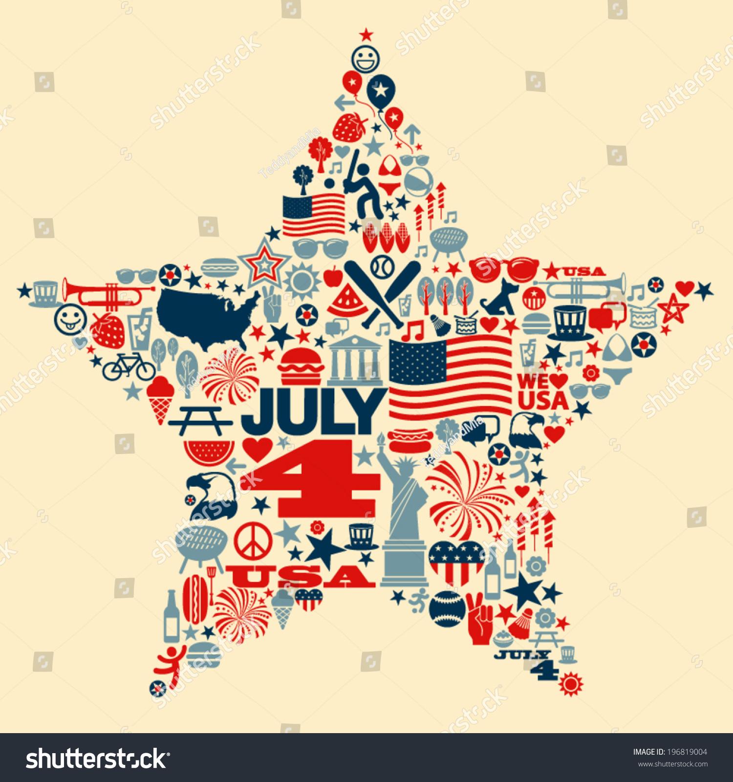 Shirt design usa - 4th Of July Icons Symbols Collage T Shirt Design