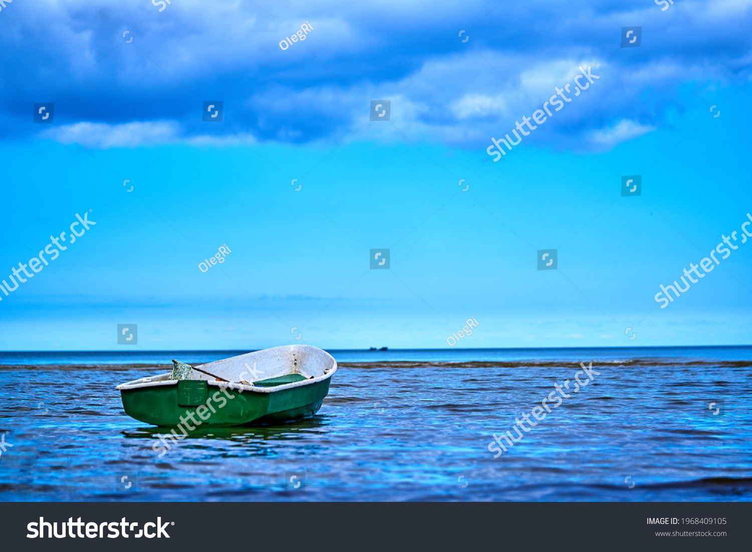 Small fishing boat with fishing net and equipment #1968409105