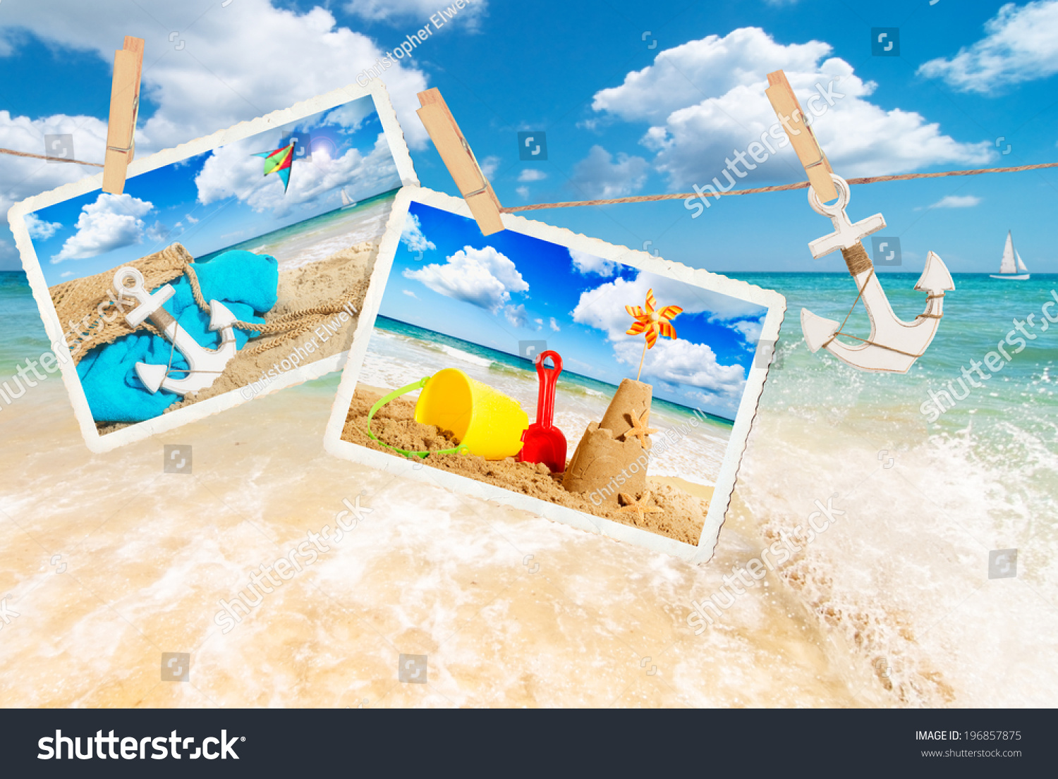 Summer Holiday Postcards Against Beach Scene Stock Photo 196857875 ...