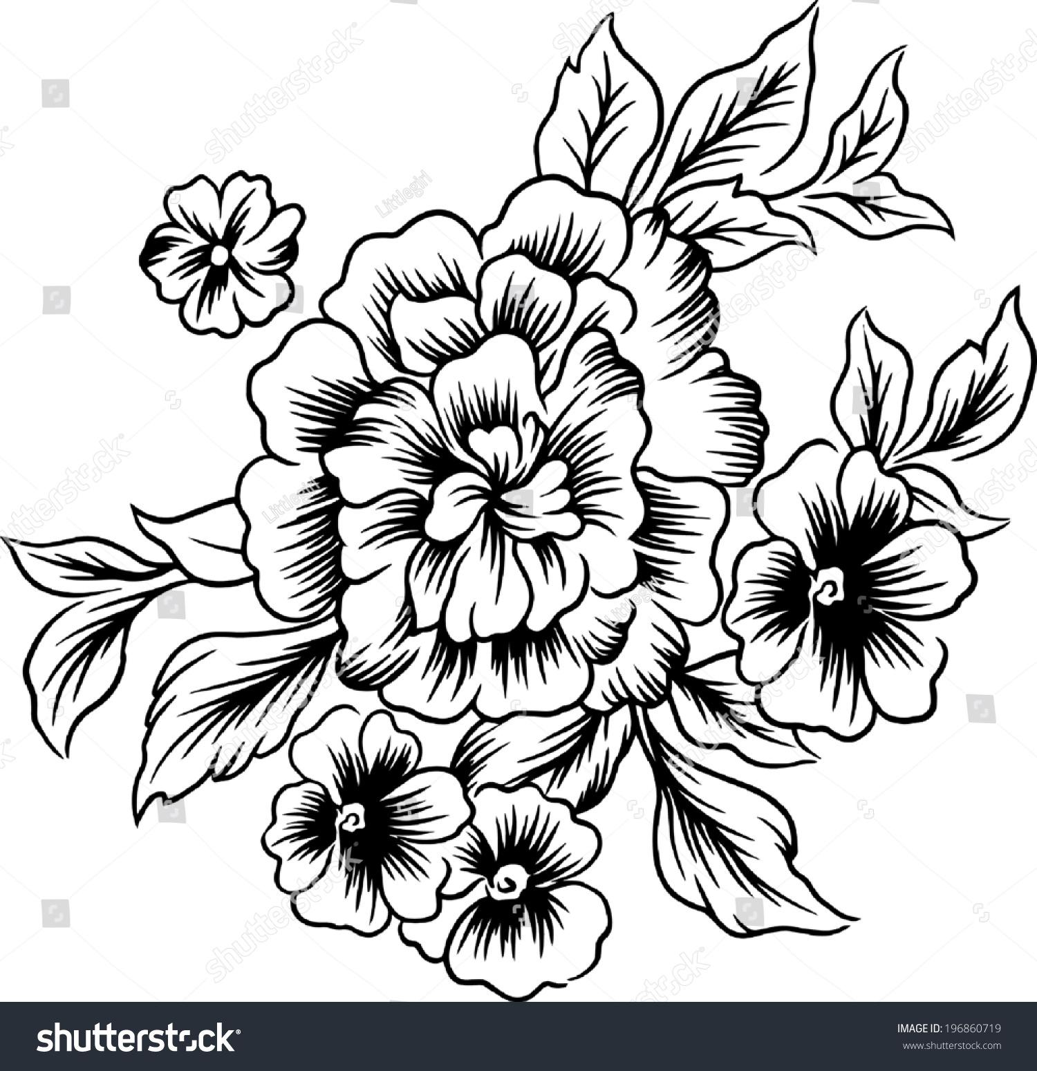 Big flowerlines beautiful designshand drawings stock vector royalty big of flowernes beautiful designshand drawings izmirmasajfo