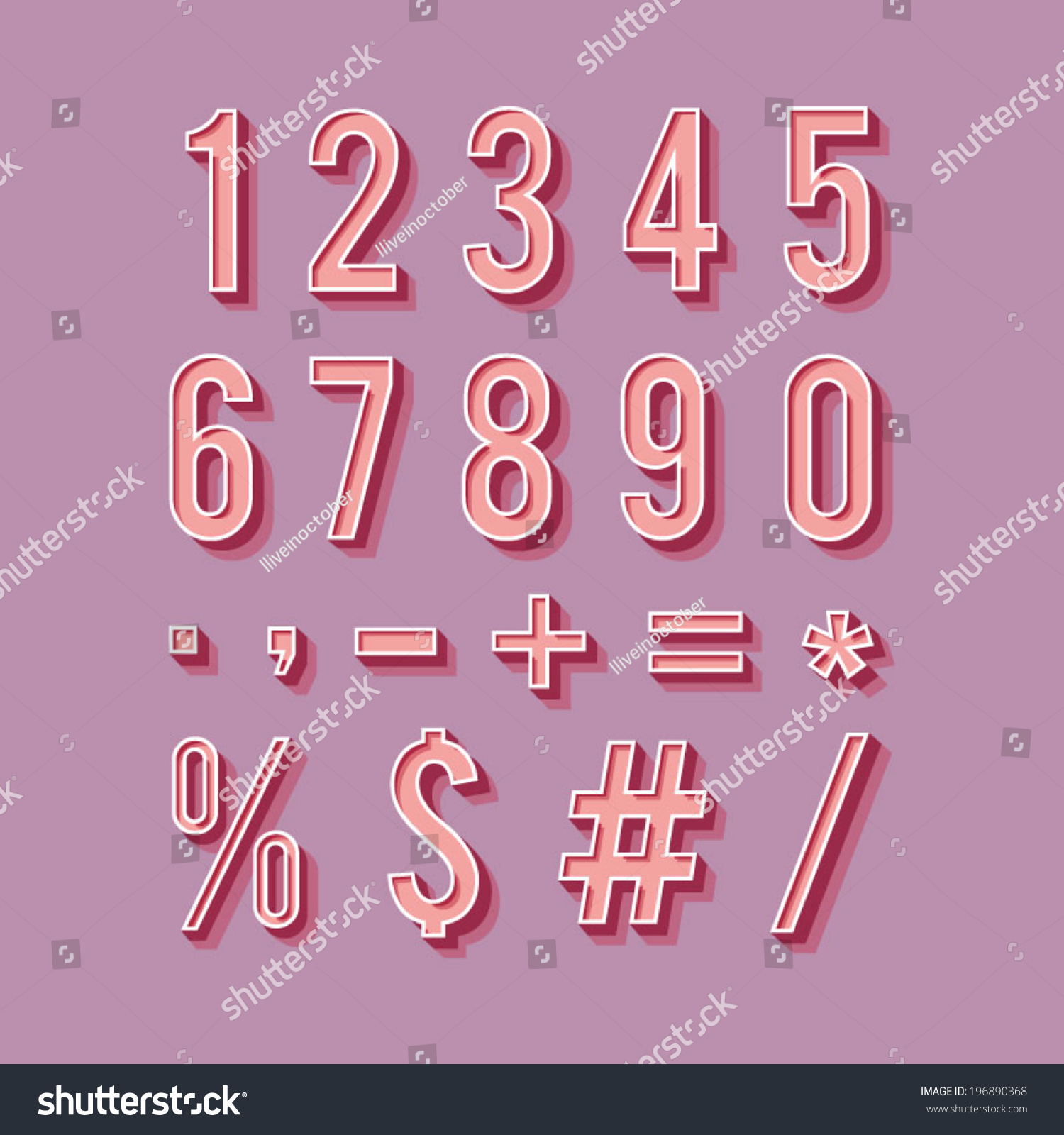 Vintage Typography Set Retro Numbers Symbols Stock Vector ...
