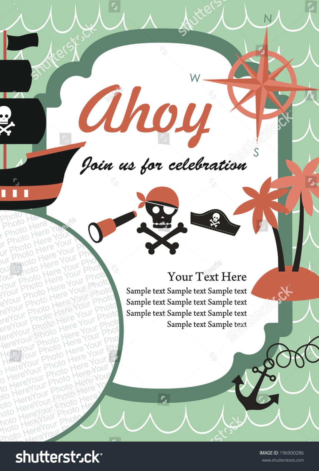 Beautiful Pirate Party Invitation Wording Embellishment - Invitation ...