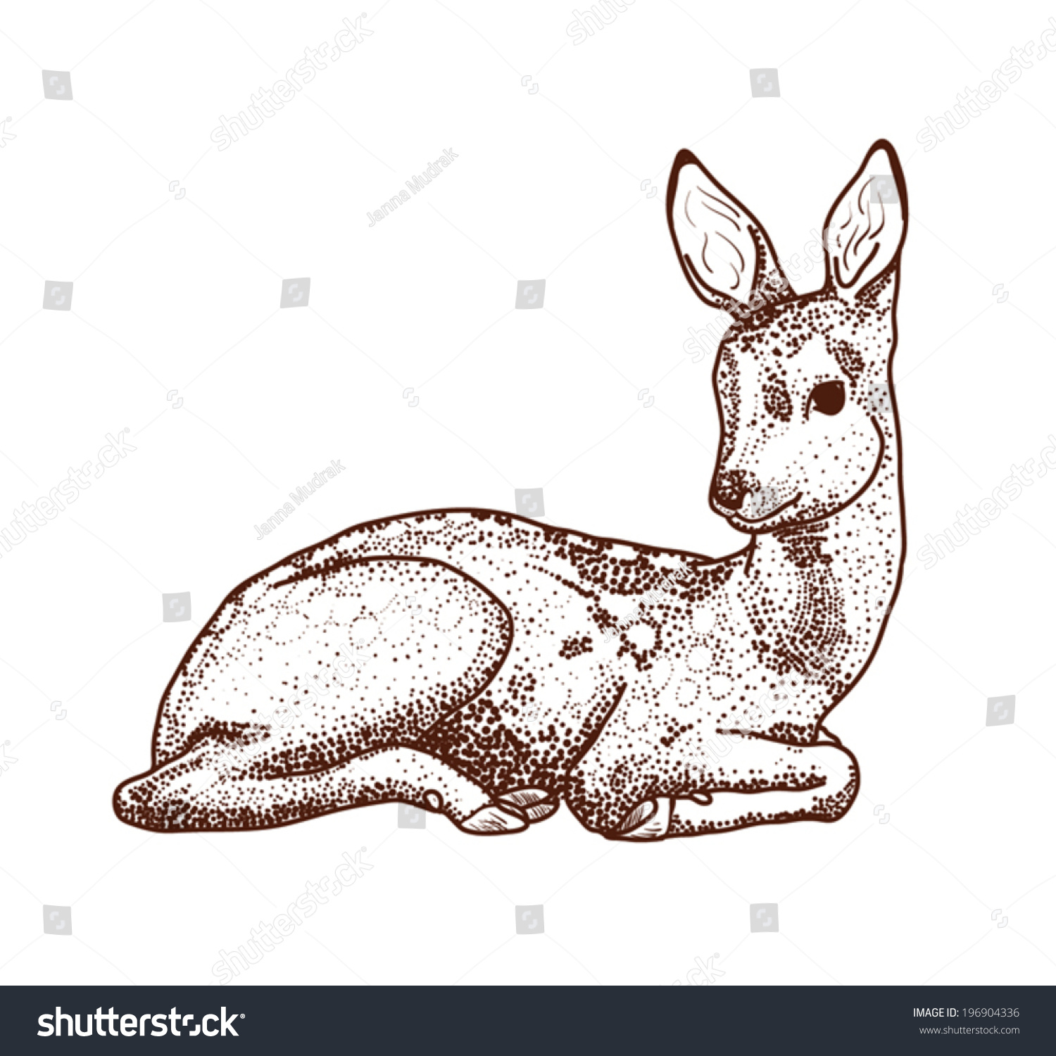 Deer Contour Line Drawing : Contour drawing deer points cartoon stock vector