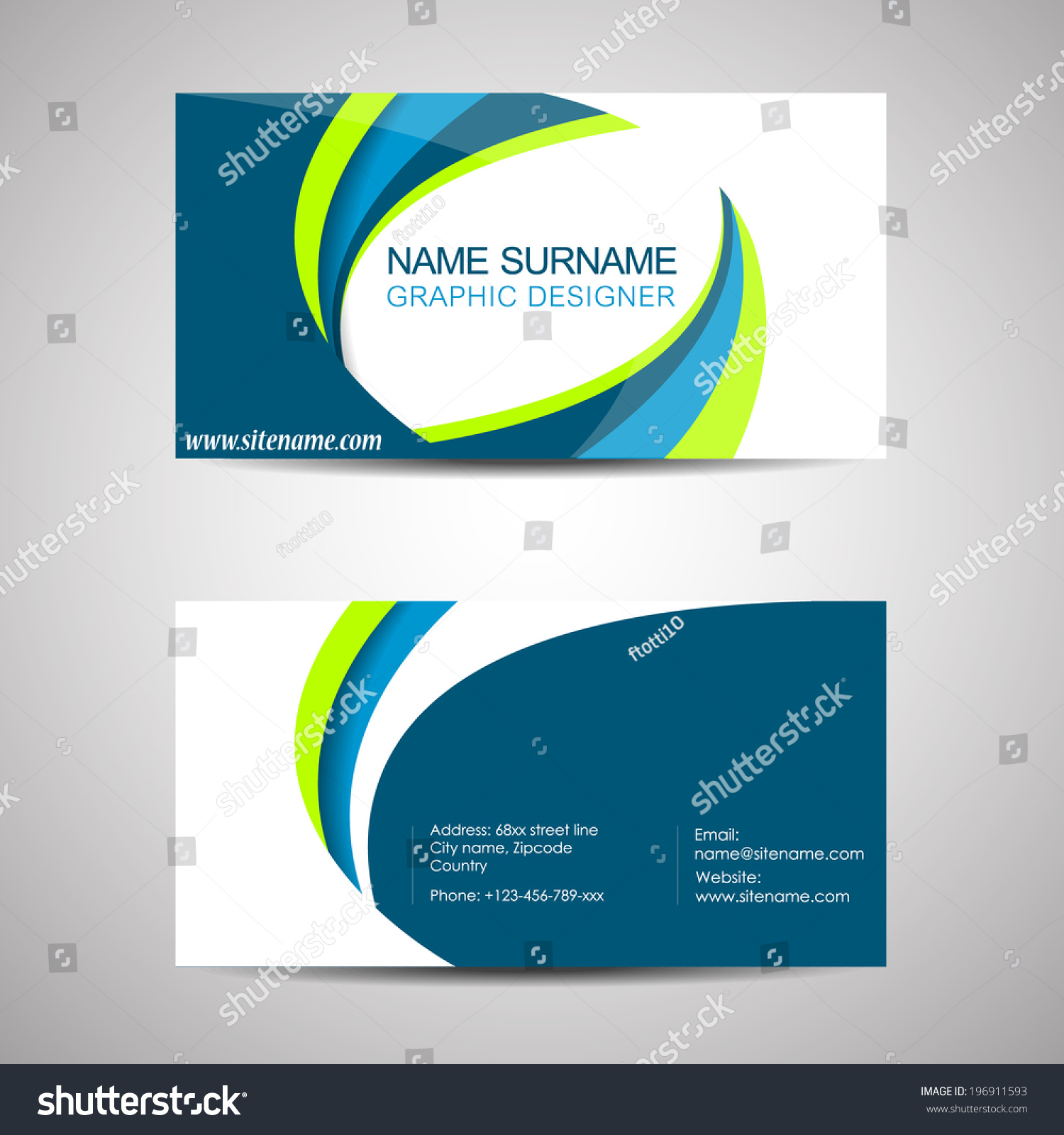 Abstract Professional Business Card Template Visiting Stock Vector