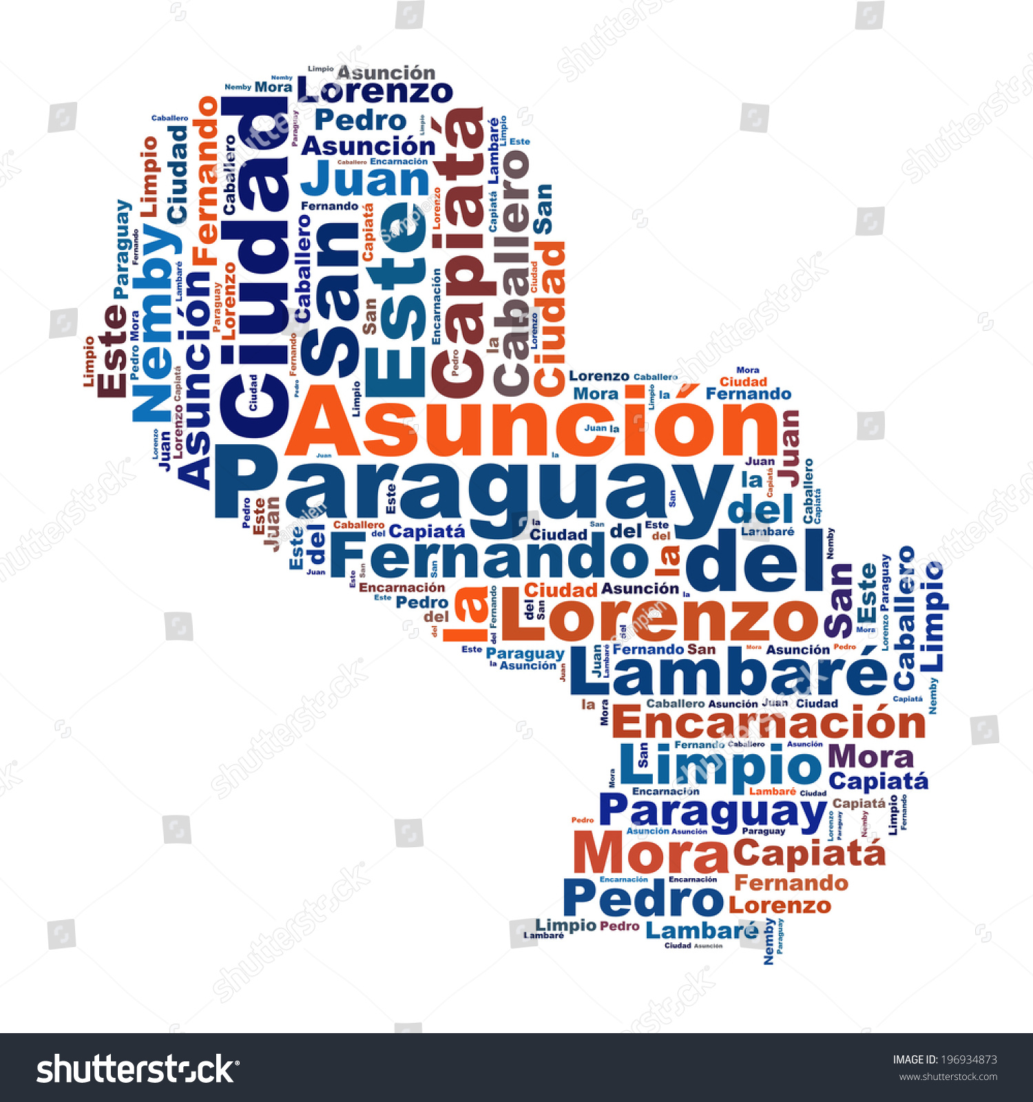 Paraguay Map Words Cloud Larger Cities Stock Illustration 196934873