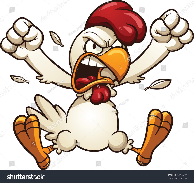 怒った漫画の鶏簡単なグラデーションを持つベクタークリップ