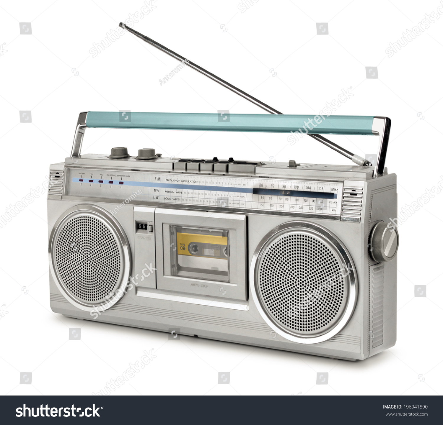 vintage stereo radio cassette player 80s stock photo. Black Bedroom Furniture Sets. Home Design Ideas
