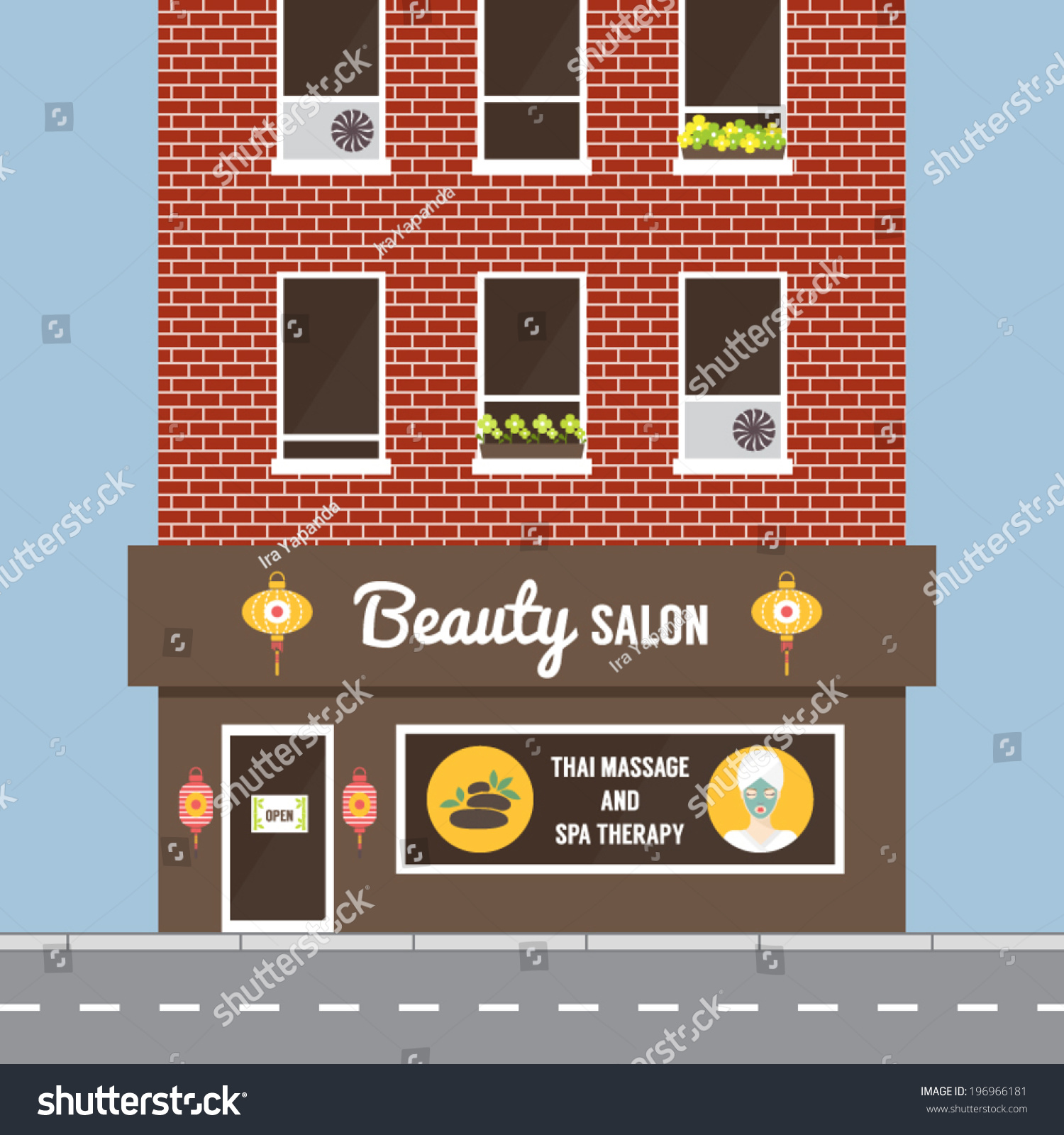 Beauty Salon Facade Building Exterior Spa In Oriental Style Flat Design Vector