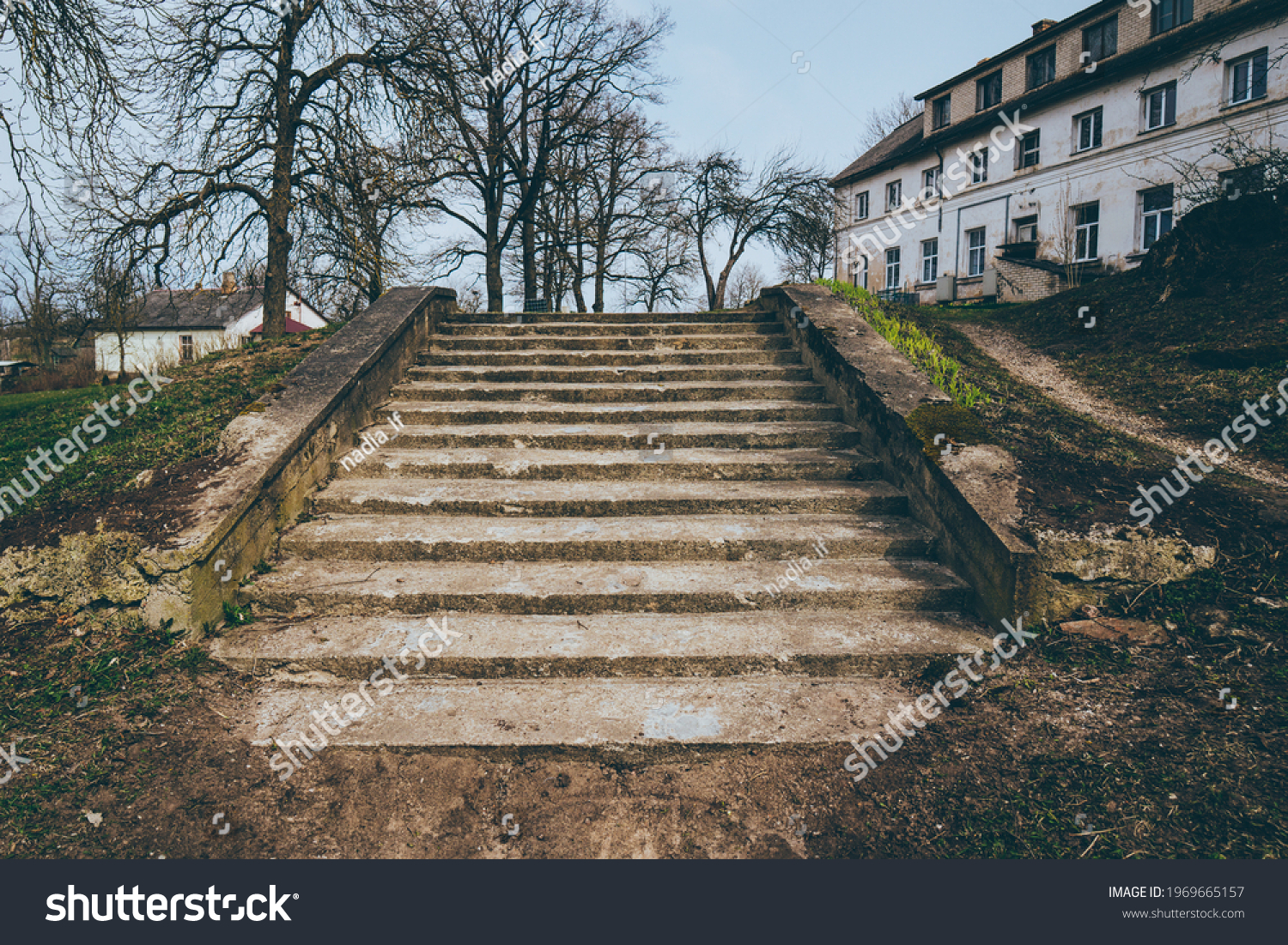 Park landscape. Stone paved stairs in park  #1969665157