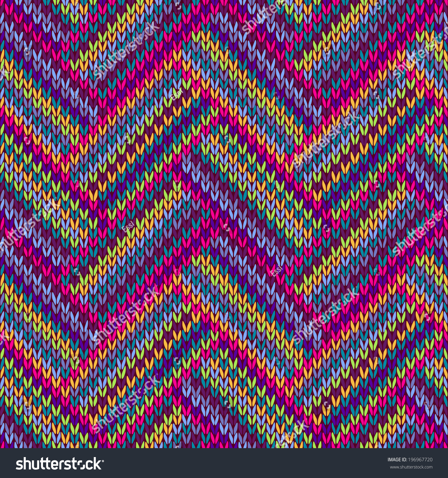 Multicolored Seamless Funny Knitted Pattern Stock Illustration ...