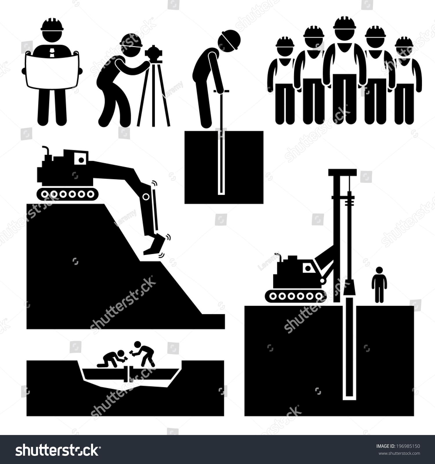 Construction Civil Engineering Earthworks Worker Stick Stock Vector