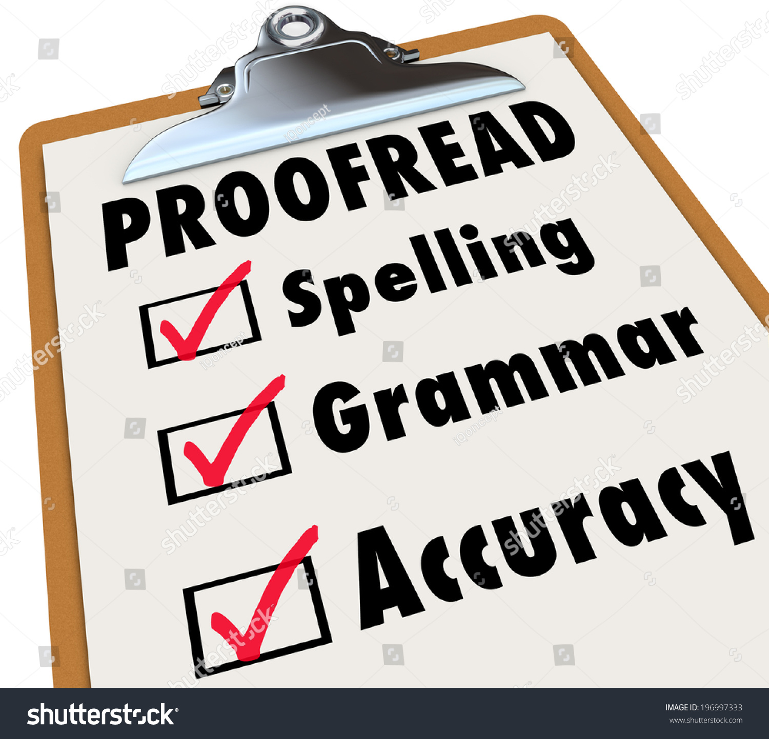 Proofread Checklist Checked Boxes Next Words Stock Illustration ...