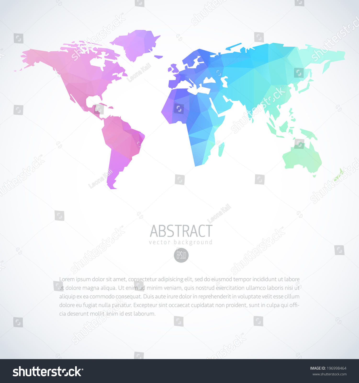 Simple vector template continental world map vectores en stock simple vector template of continental world map with modern triangle pattern gumiabroncs Gallery