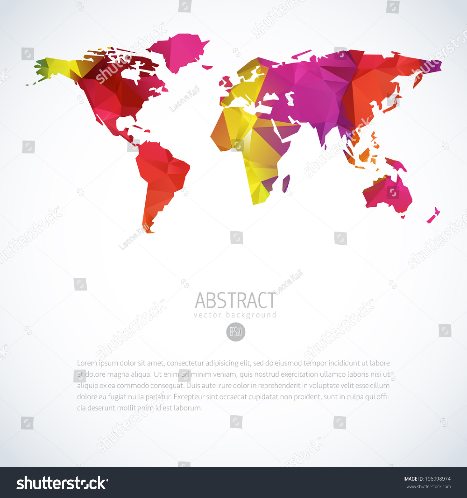 Royalty free simple vector template of continental 196998974 stock simple vector template of continental world map with modern triangle pattern world map blank world gumiabroncs Image collections