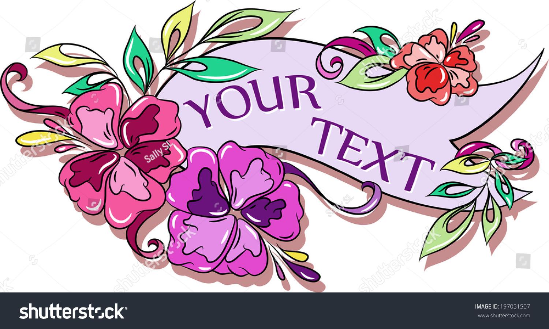 Cartoon Floral Text Label Hibiscus Hawaii Stock Vector Royalty Free