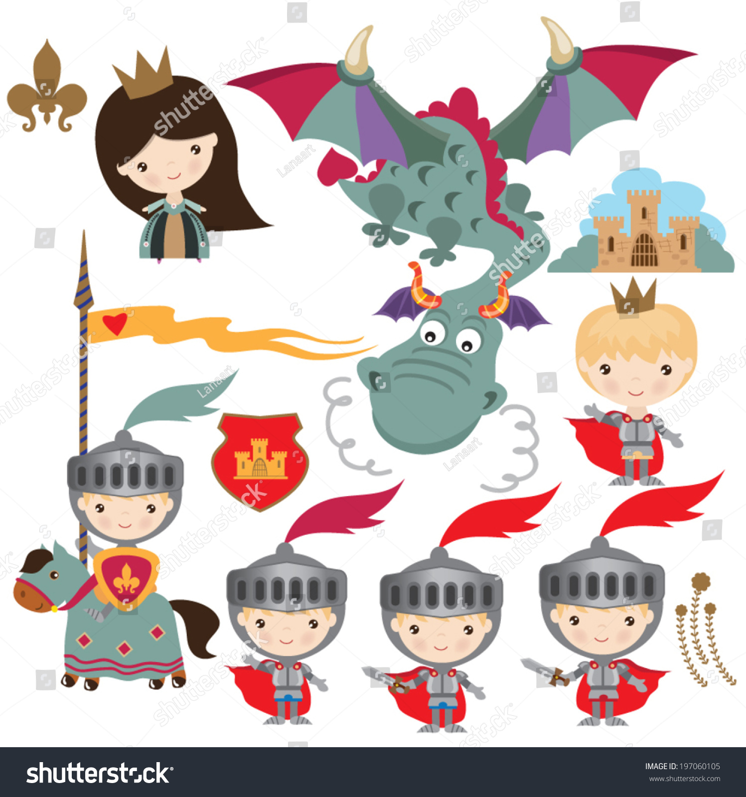 medieval dragon knight princess illustration stock vector