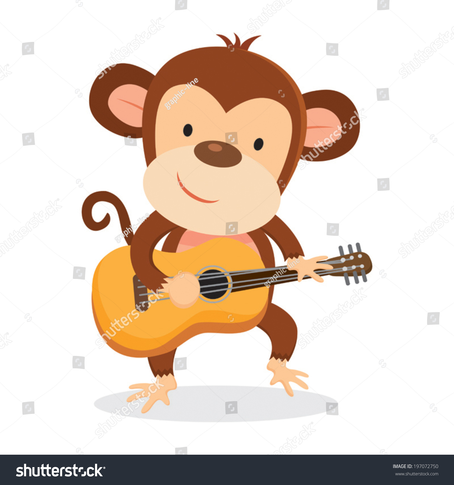 Monkey Playing Guitar Stock Vector Royalty Free 197072750