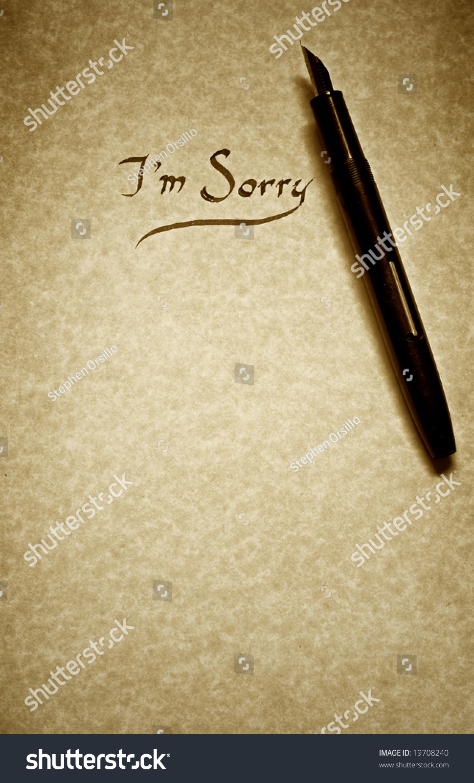 Sorry Letter Being Written Calligraphy On Imagen De