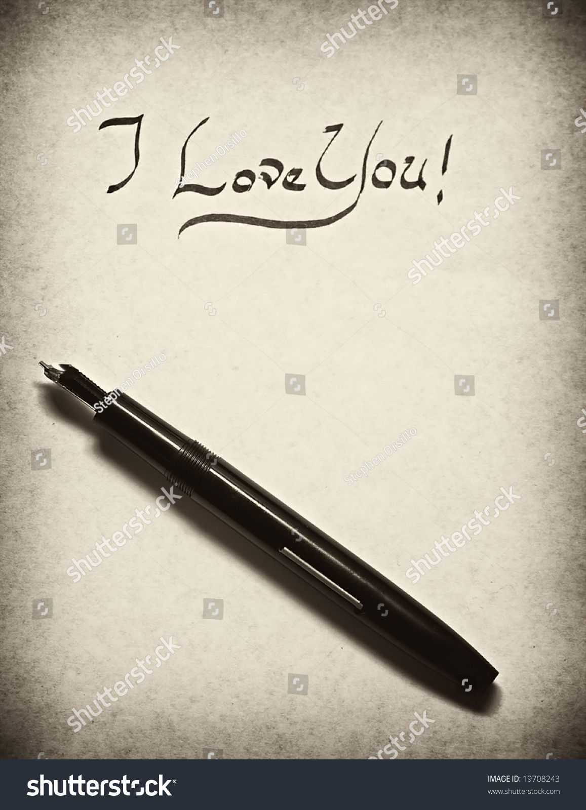 Love You Letter Being Written Calligraphy Stock Photo