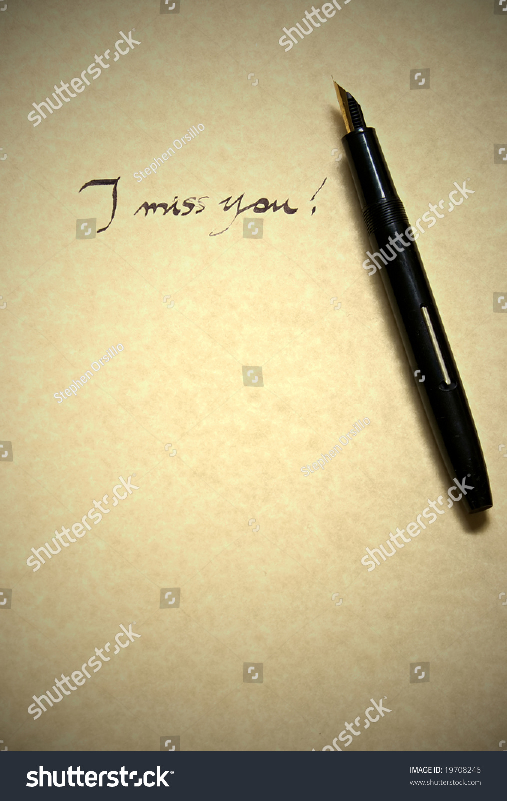 I Miss You Letter Being Written In Calligraphy On