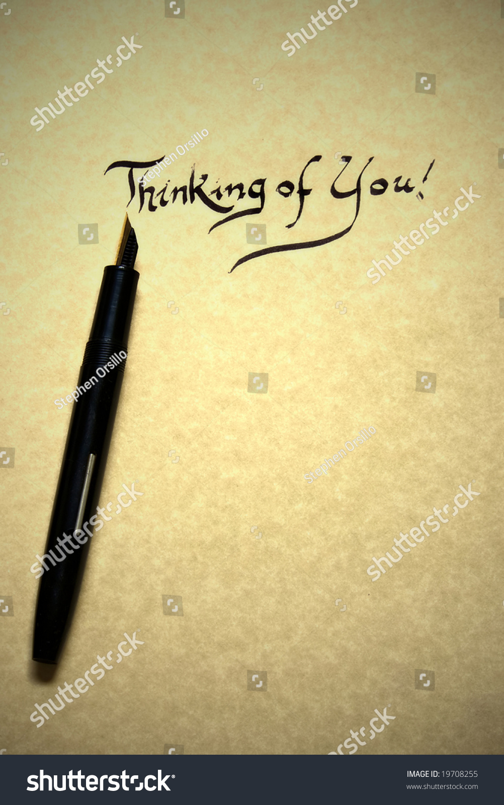 Thinking You Letter Being Written Calligraphy Stock Photo