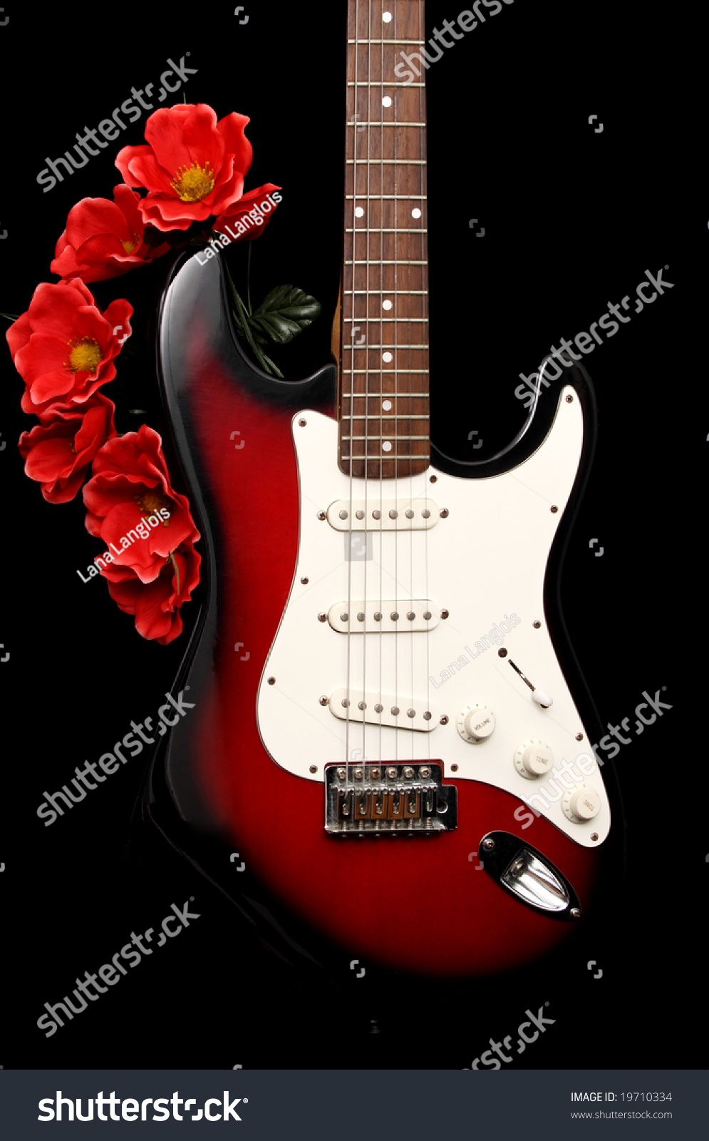 electric guitar fake red flowers black stock photo 19710334 shutterstock. Black Bedroom Furniture Sets. Home Design Ideas