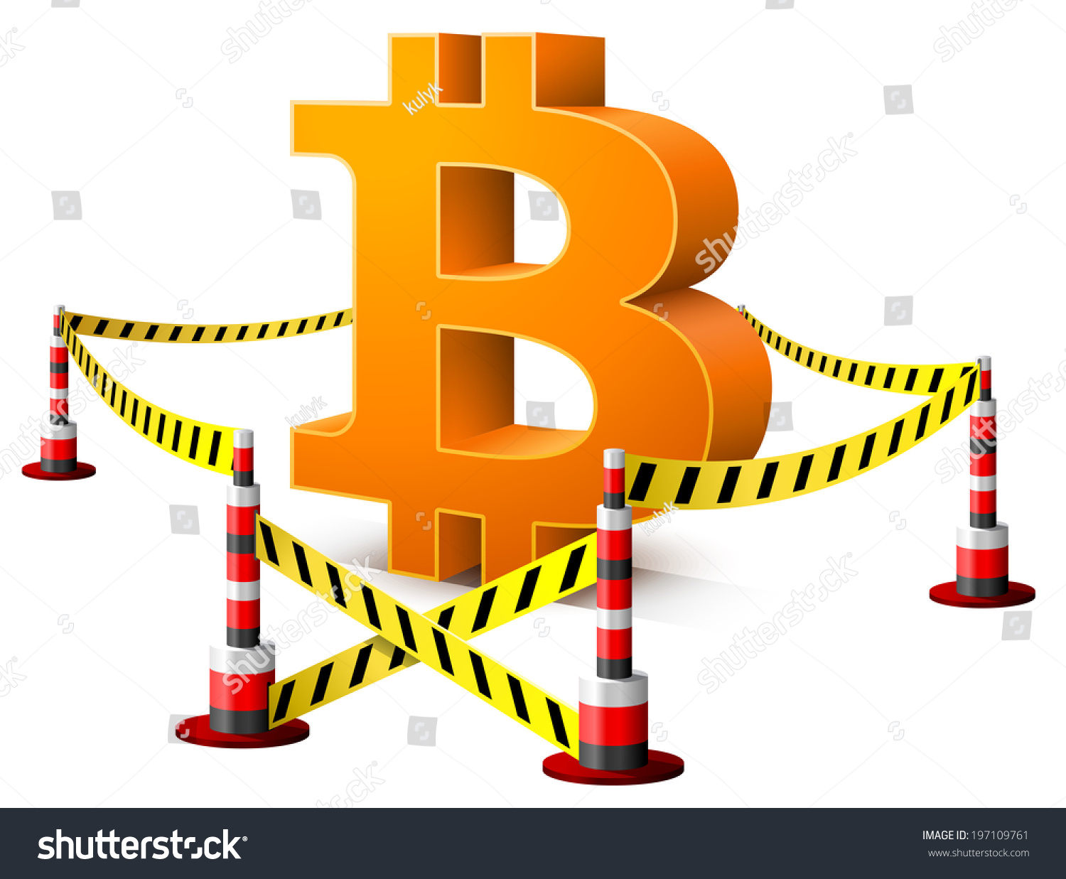 Bitcoin Symbol Located Restricted Area Dangerous Stock Illustration