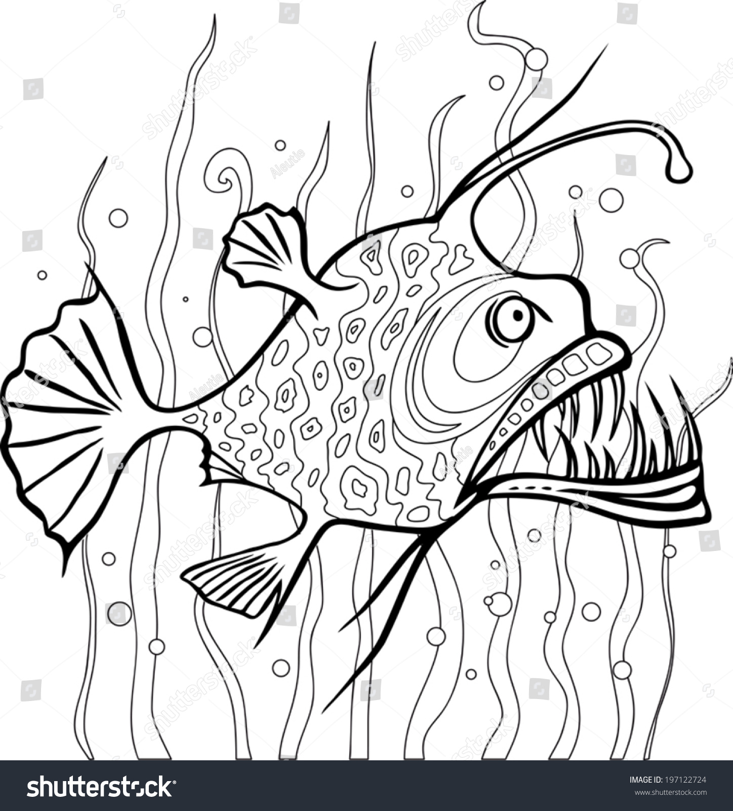 Angler fish coloring page black white stock vector for Angler fish coloring page