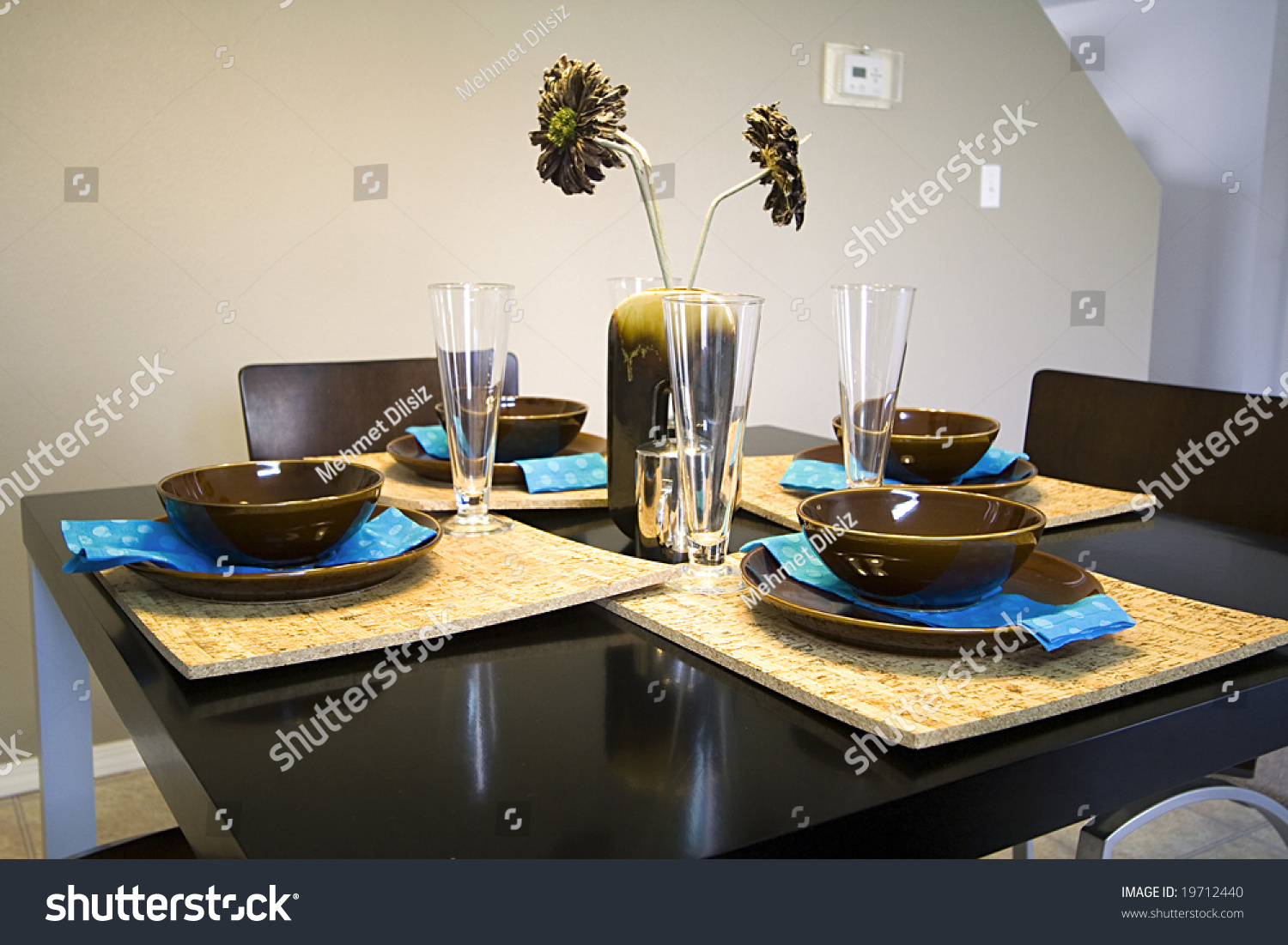 Kitchen Setup Closeup On A Setup Dinner Table In A Kitchen Stock Photo 19712440