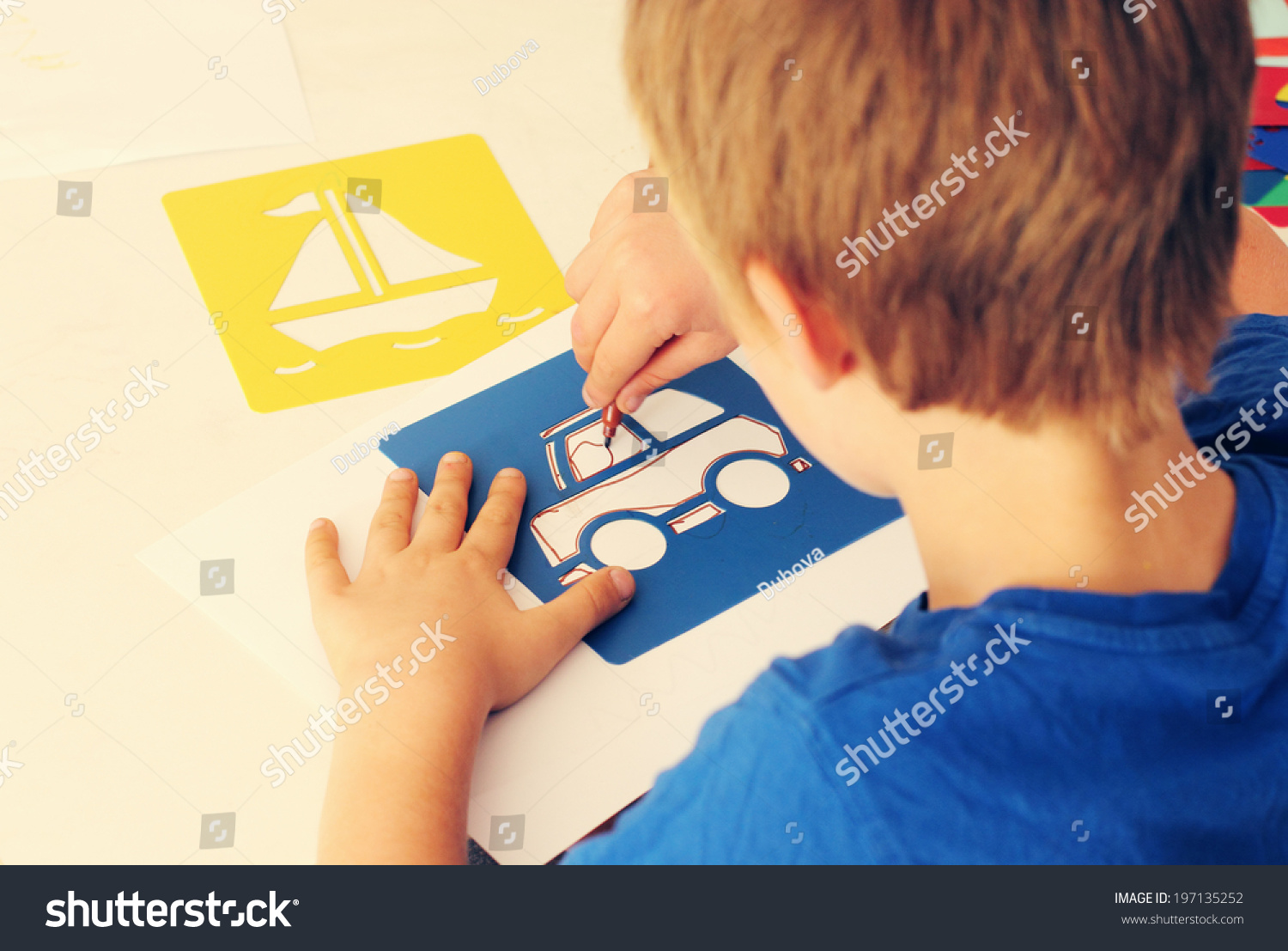 Cute 6 Years Old Boy Drawing Stock Photo 197135252 ...