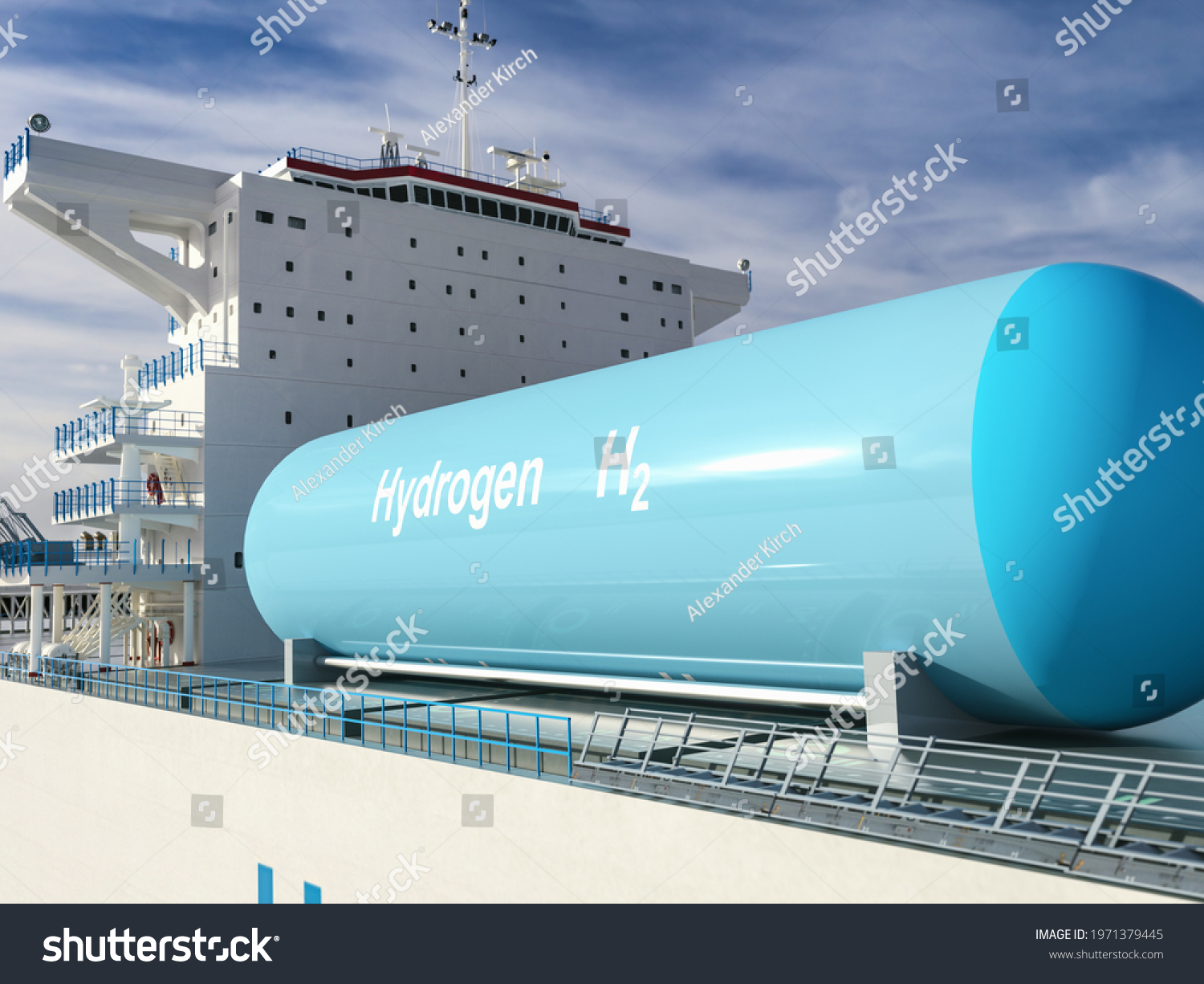 Liqiud Hydrogen renewable energy in vessel - LH2 hydrogen gas for clean sea transportation on container ship with composite cryotank for cryogenic gases. 3d rendering. #1971379445