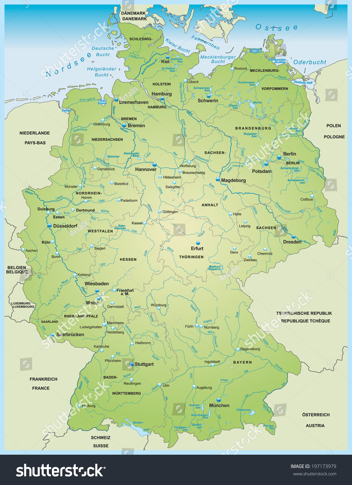 Map Germany Lakes Rivers Stock Vector Shutterstock - Germany map of rivers
