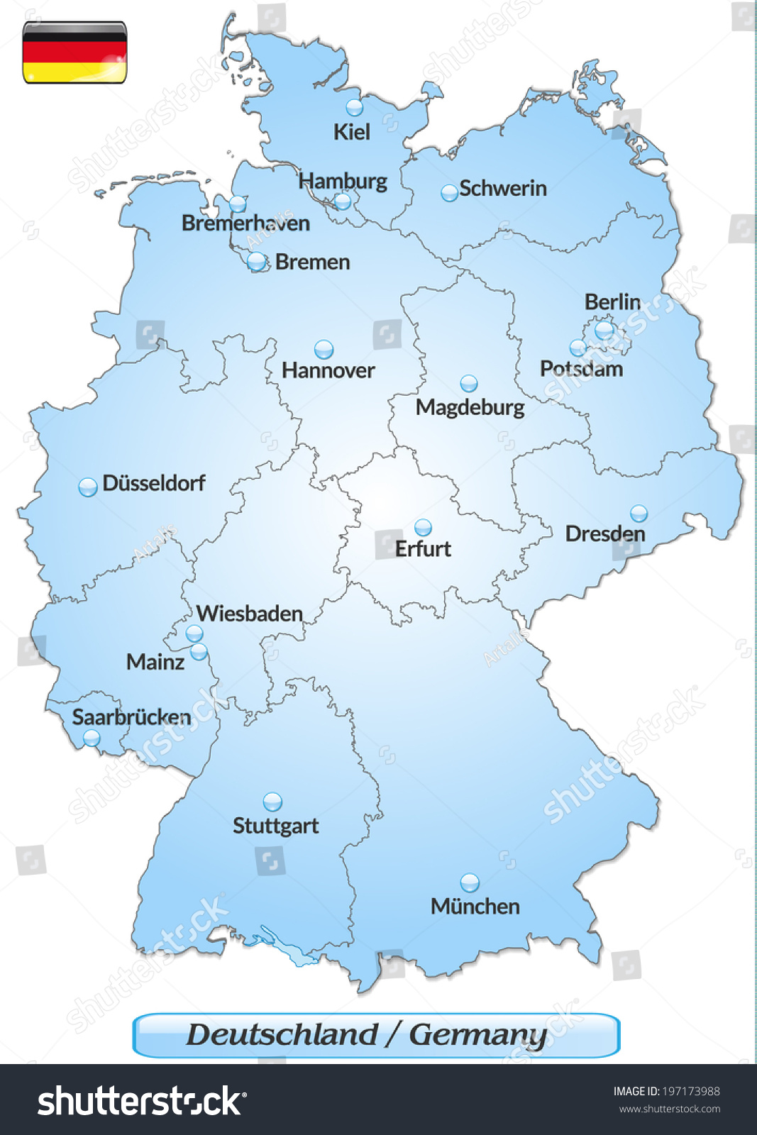 Map Germany Main Cities Blue Stock Vector Shutterstock - Germany map main cities