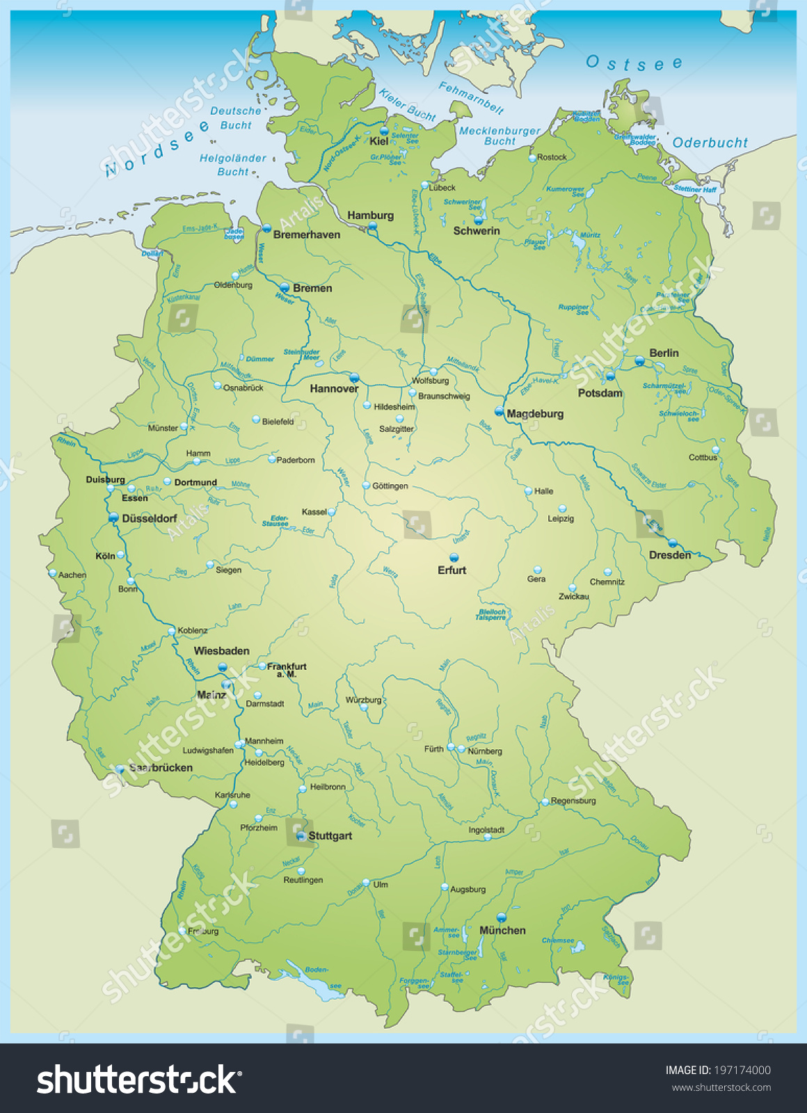 Map Of Germany With Rivers.Map Germany Lakes Rivers Stock Vector Royalty Free 197174000
