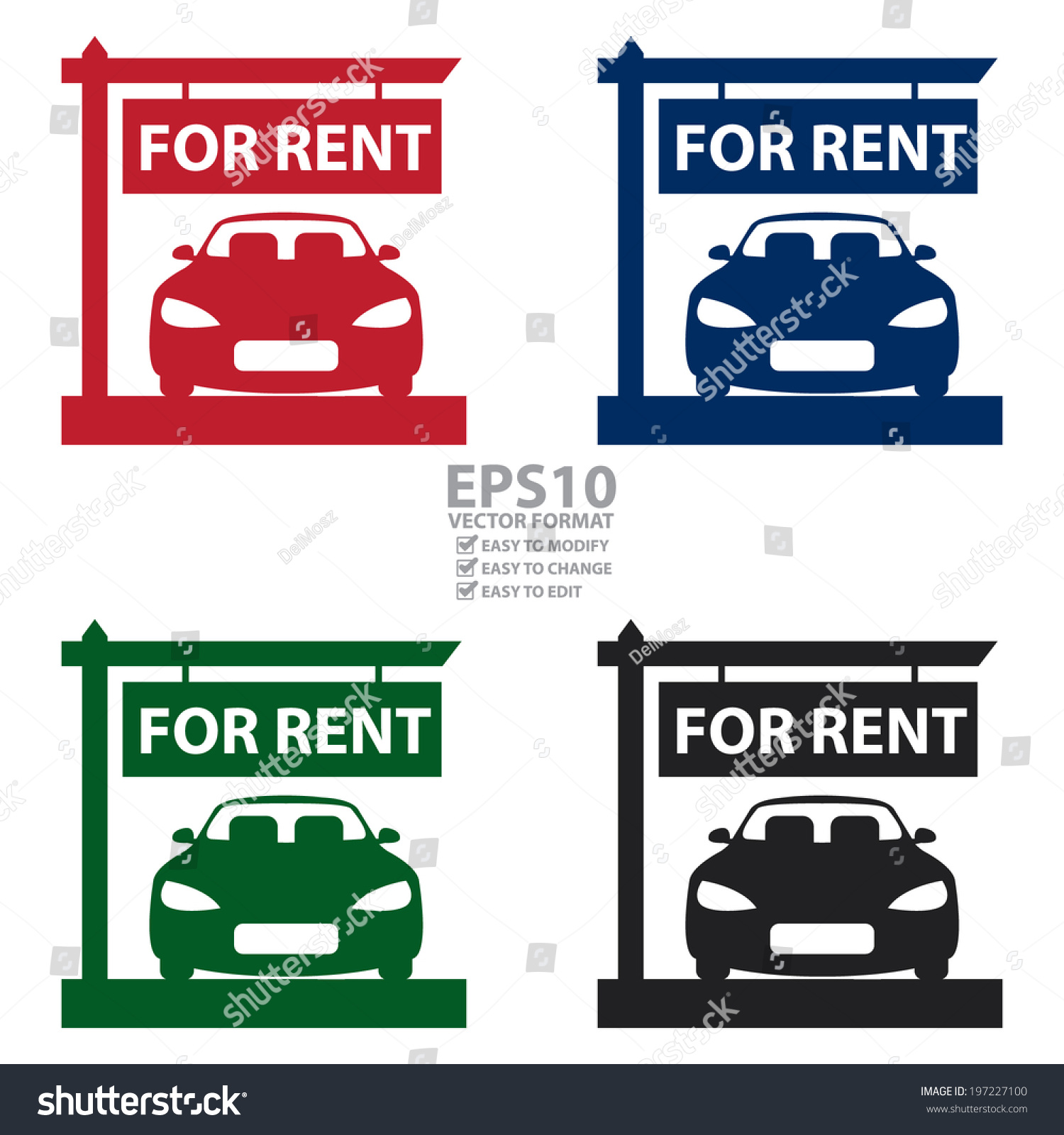 Vector Colorful Car Hire Car Rental Stock Vector 197227100