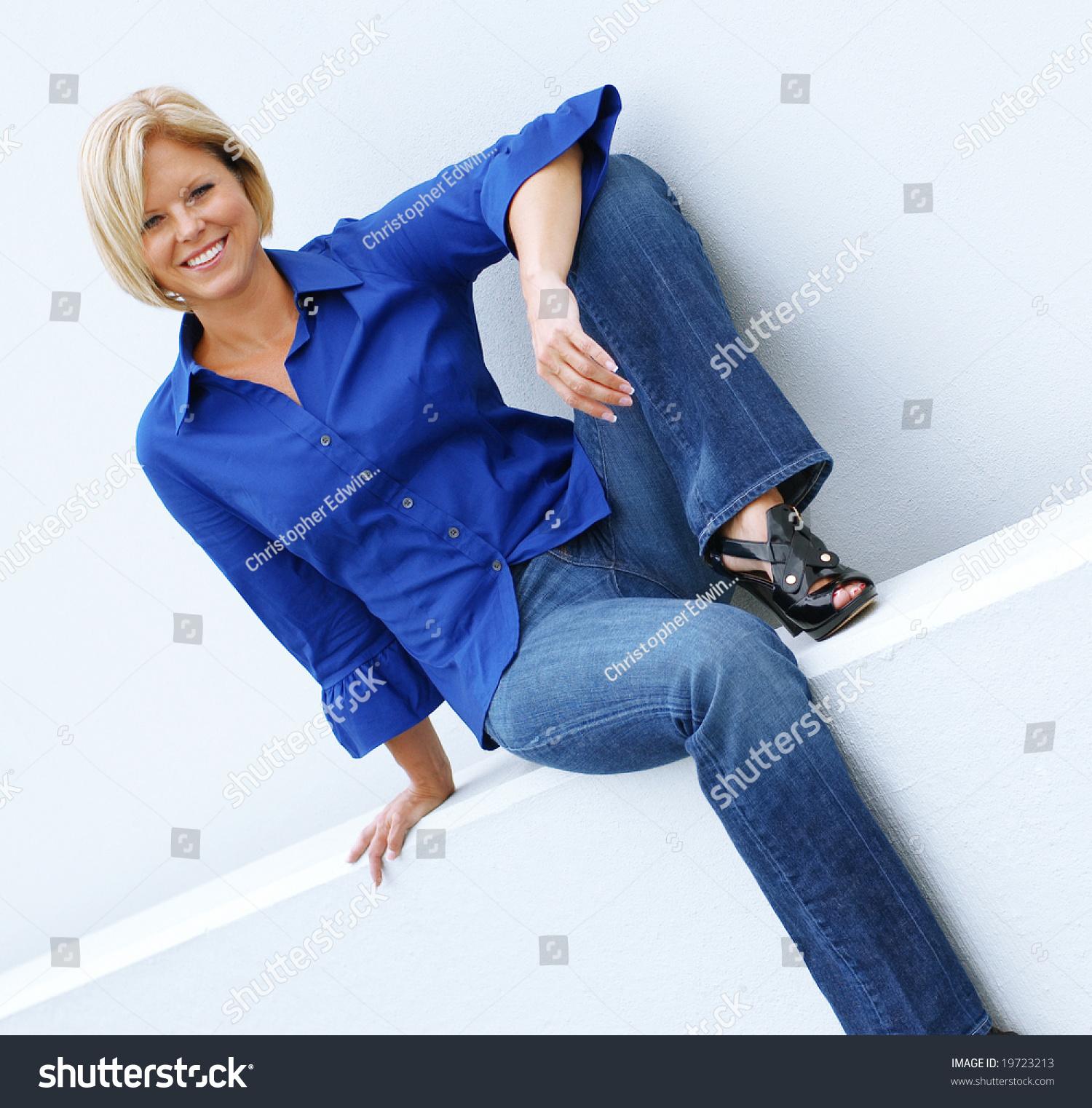 Beautiful Mature Women Relaxing Casual Clothes Stock Photo