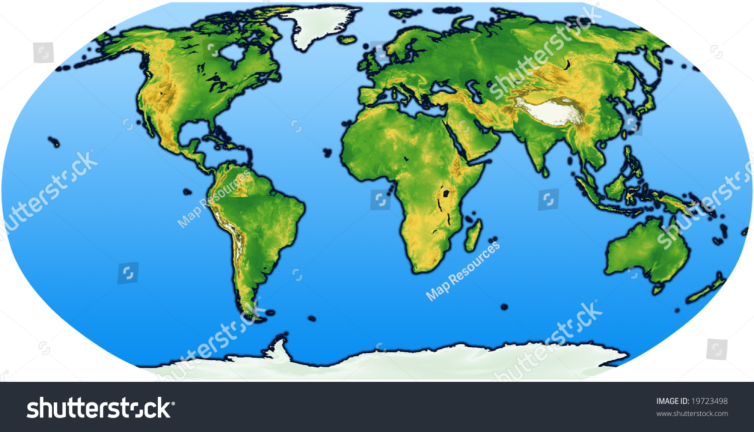 Terrain World Map.Robinson World Map Terrain Stock Illustration Royalty Free Stock