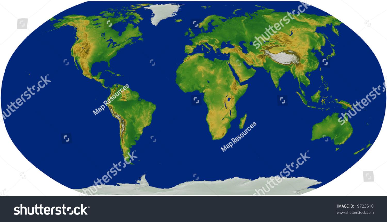 Robinson World Map Terrain Stock Illustration 19723510 Shutterstock