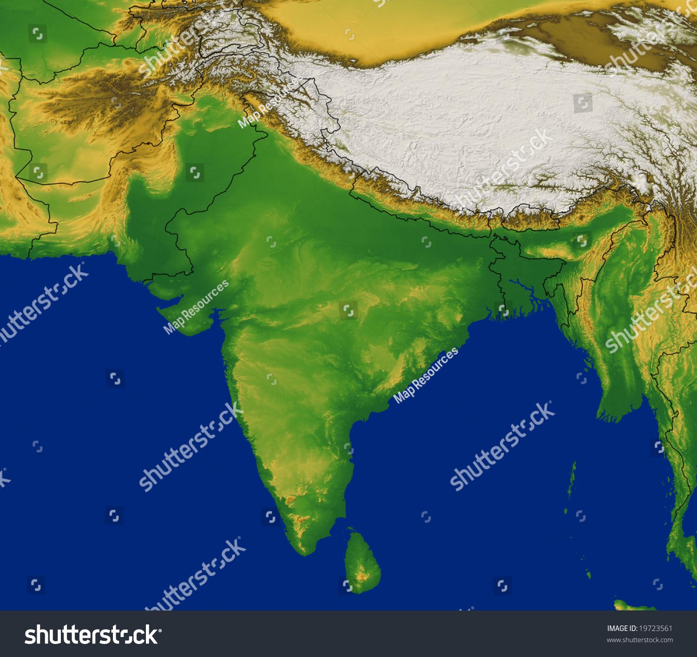 India Region Map Terrain Stock Illustration Shutterstock - Earth terrain map