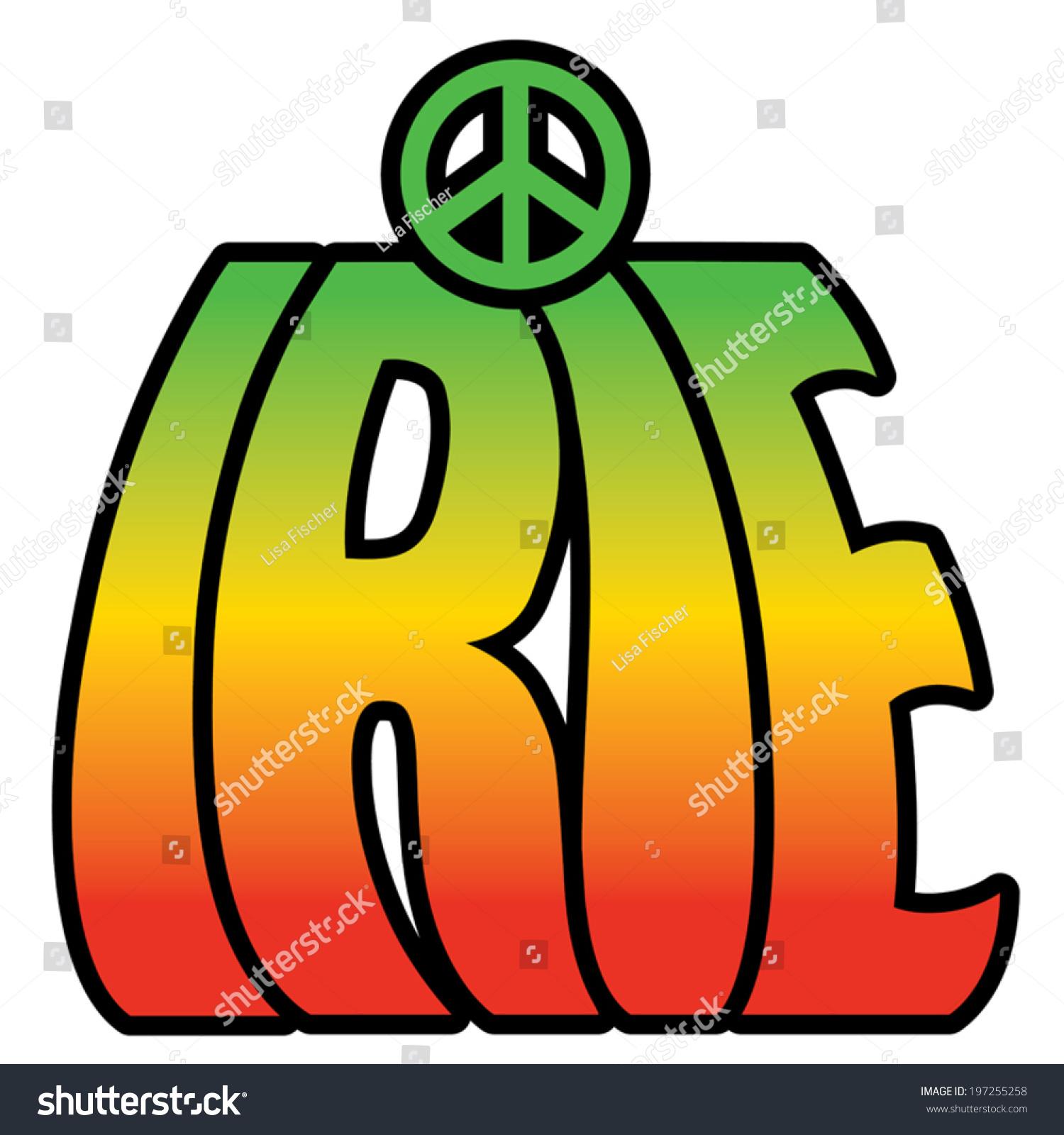Irie text design peace symbol rastafarian stock vector 197255258 irie text design with peace symbol in rastafarian colors biocorpaavc Image collections